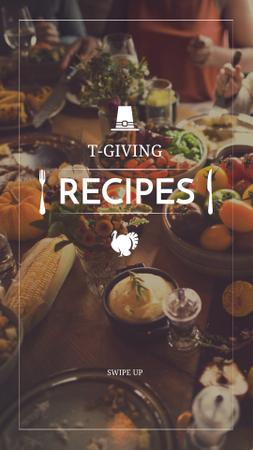 Template di design Thanksgiving Recipes Ad with Festive Table Instagram Story