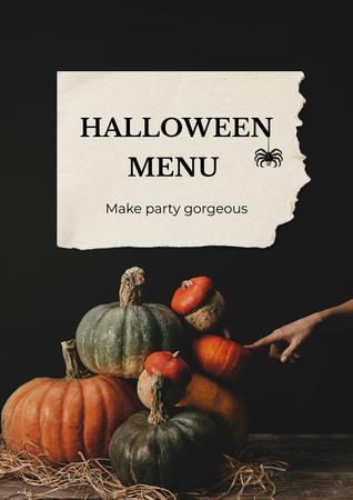Halloween Menu Announcement with Ripe Pumpkins Poster – шаблон для дизайну