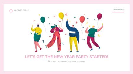 Ontwerpsjabloon van FB event cover van Happy people with colorful balloons at New Year Party