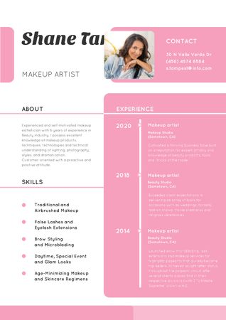 Makeup artist skills and experience Resume – шаблон для дизайну
