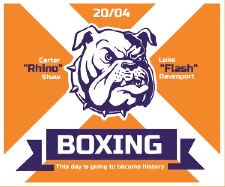 Plantilla de diseño de Boxing Match Announcement Bulldog on Orange Medium Rectangle