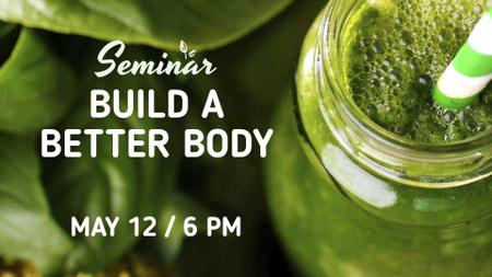 Green Smoothie in glass jar FB event cover Modelo de Design