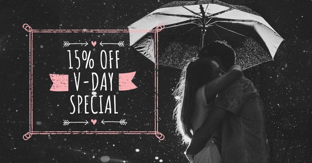 Valentine's Day Offer with Couple under Umbrella — Crea un design