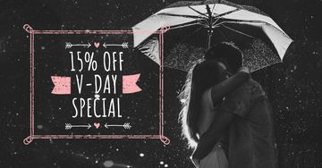 Valentine's Day Offer with Couple under Umbrella