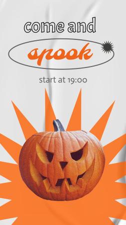 Halloween Party Announcement with Spooky Pumpkin Instagram Story Modelo de Design