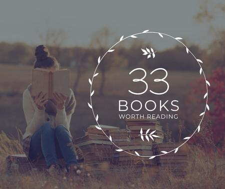Template di design Reading Inspiration Woman Holding Book Facebook