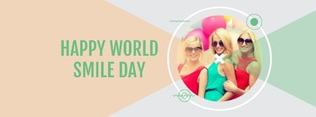 Designvorlage World Smile Day Ad with Attractive Girls für Facebook cover