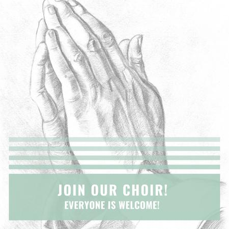 Plantilla de diseño de Church Choir Invitation with Hands in Prayer Instagram AD