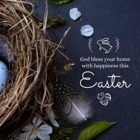 Easter Greeting with nest and eggs Animated Postデザインテンプレート