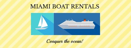Boat rentals advertisement Facebook cover Modelo de Design