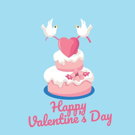 Doves Putting Heart on Cake on Valentine's Day Animated Post Tasarım Şablonu