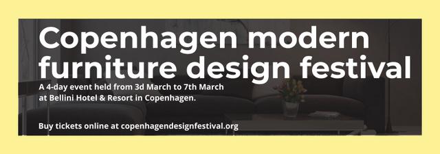 Interior Decoration Event Announcement with Sofa in Grey Tumblr Modelo de Design