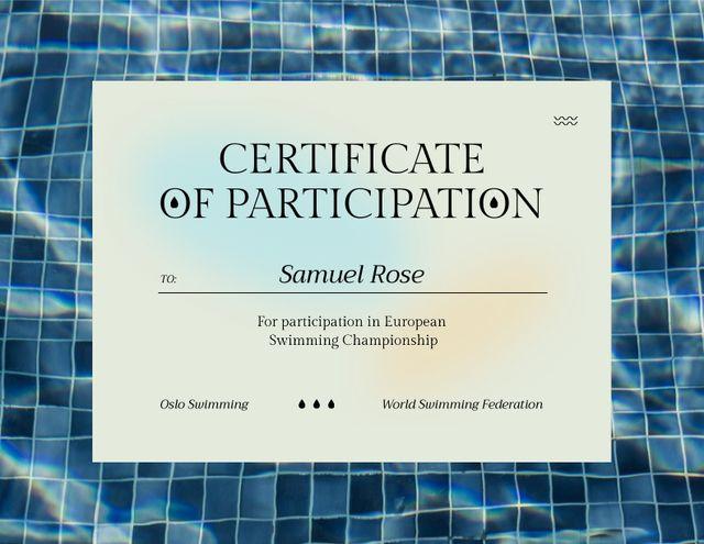 Award for Participation in Swimming Championship Certificate Modelo de Design
