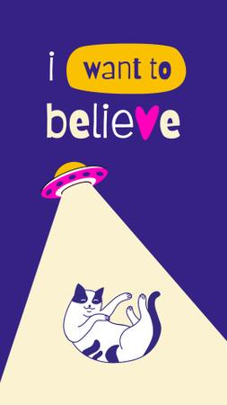 Designvorlage Funny Illustration of UFO taking Cat away für Instagram Video Story