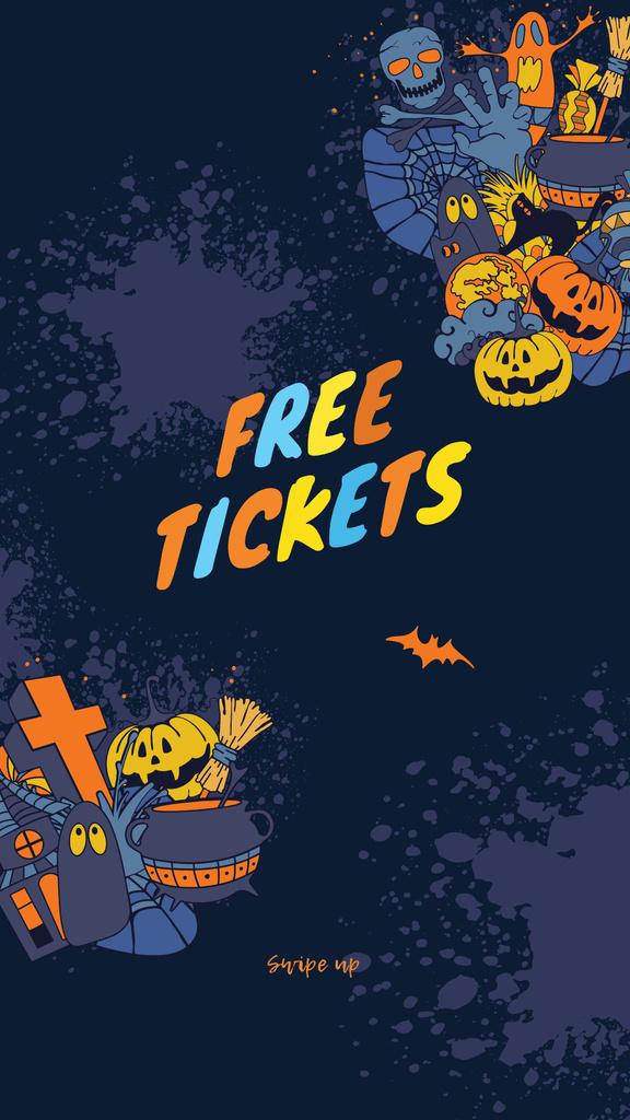 Plantilla de diseño de Halloween Party Tickets Offer with Holiday Attributes Instagram Story