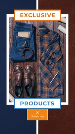 Sale Ad with Casual Male Outfit Instagram Story Design Template