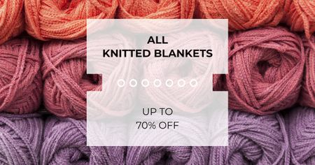 Knitting Blankets ad with Yarn Skeins Facebook ADデザインテンプレート