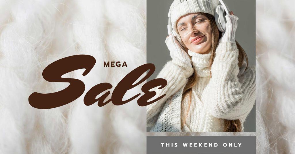 Modèle de visuel Sale Offer Girl in Headphones and Cozy Knitwear - Facebook AD