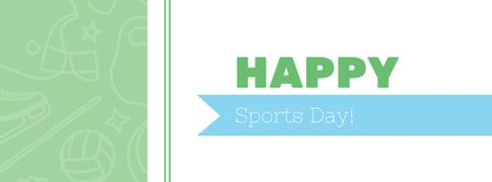 Modèle de visuel Sports Day Greeting with Sport Icons - Facebook cover