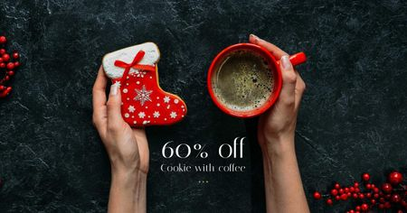 Designvorlage Christmas Offer Coffee Cup and Gingerbread für Facebook AD