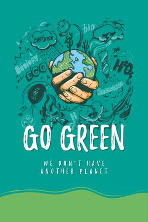 Modèle de visuel Eco lifestyle Concept with Planet in Hands - Pinterest
