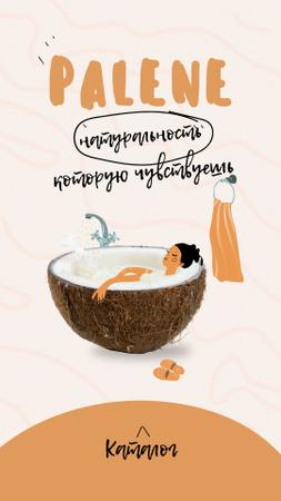Natural Cosmetics Ad with Woman in Coconut Bath Instagram Story – шаблон для дизайна