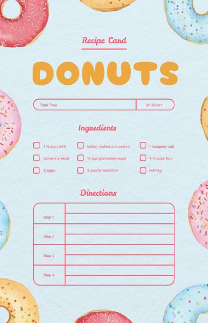 Yummy Donuts Cooking Steps Recipe Card Modelo de Design