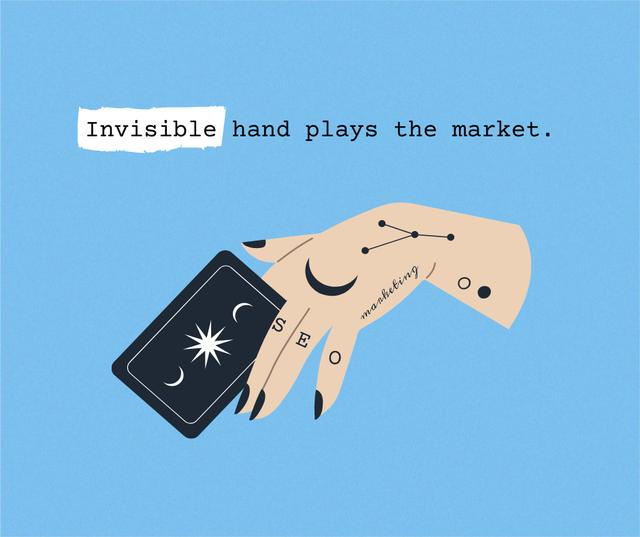 Funny Joke with Fortuneteller's Hand Facebook Design Template