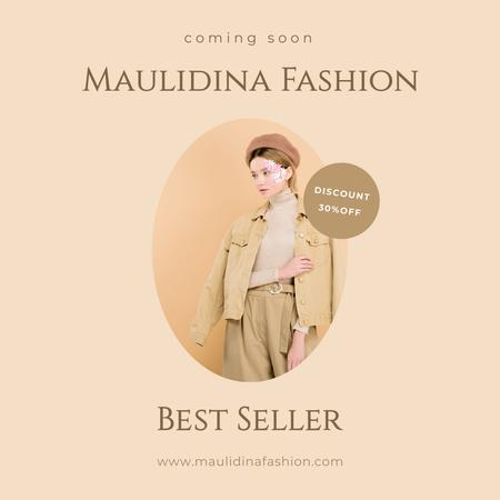 Fashion Ad with Girl in Stylish Outfit Instagramデザインテンプレート