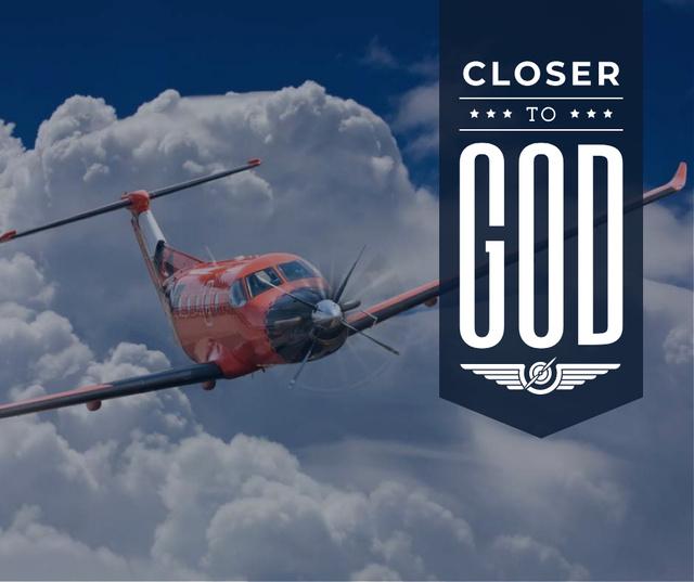 Plantilla de diseño de Plane flying in blue sky Facebook