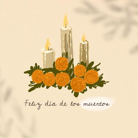 Dia de los Muertos Celebration with Candles and Flowers Animated Post – шаблон для дизайна