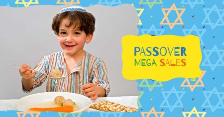Template di design Passover Sale with Jewish Boy Facebook AD