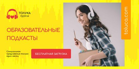 Education Podcast Ad with Woman in Headphones Twitter – шаблон для дизайна