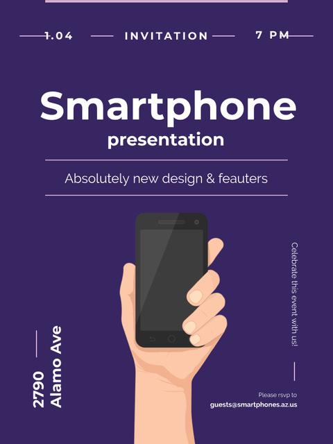 Modèle de visuel Smartphone Review hand holding Phone - Poster US