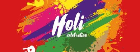Holi Festival Announcement with Bright Paint Facebook cover Design Template