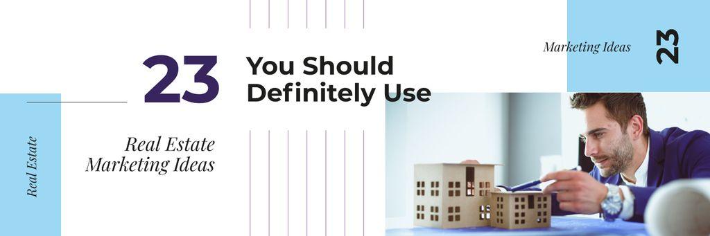 Szablon projektu Real Estate Agent with House Model Twitter
