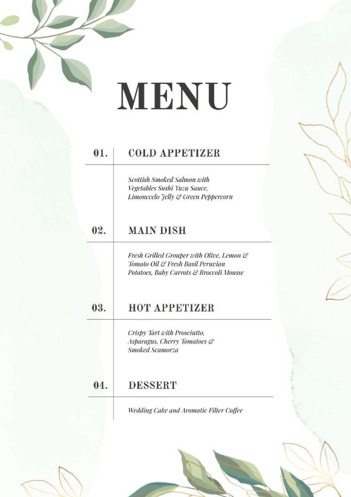 Designvorlage Course dishes in elegant style für Menu