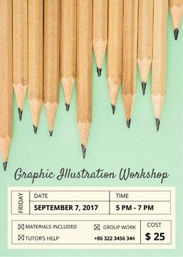 Illustration Workshop Graphite Pencils on Blue