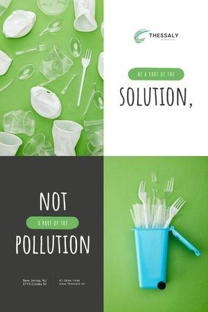 Plastic Waste Concept with Disposable Tableware Tumblr tervezősablon