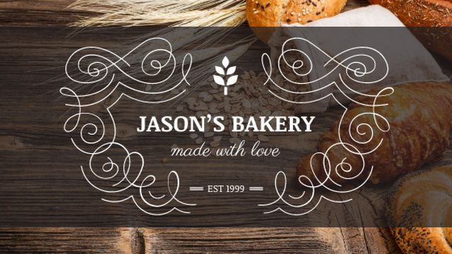 Bakery Offer Fresh Croissants on Table Title Design Template