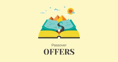 Passover Offer with Open Book Facebook AD Modelo de Design
