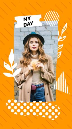 Stylish Young Woman in Autumn Outfit Instagram Video Story Design Template