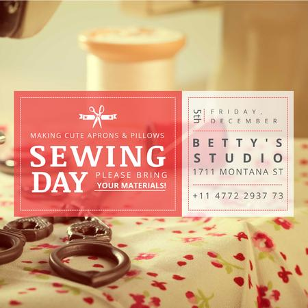 Ontwerpsjabloon van Instagram van Sewing day event with Flower Tablecloth
