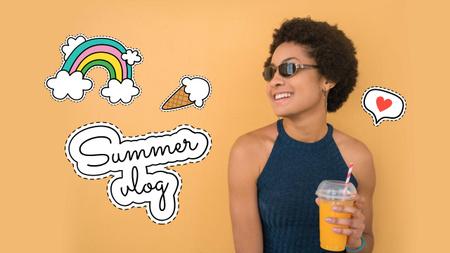 Modèle de visuel Smiling Girl holding Summer Drink - Youtube Thumbnail
