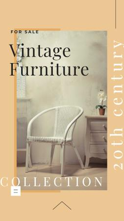 Vintage Furniture Offer with Stylish Chair Instagram Story Modelo de Design