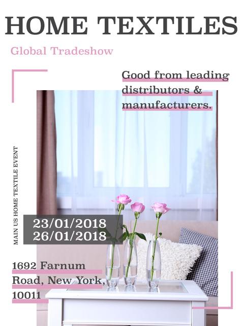 Ontwerpsjabloon van Poster US van Home textiles event announcement roses in Interior