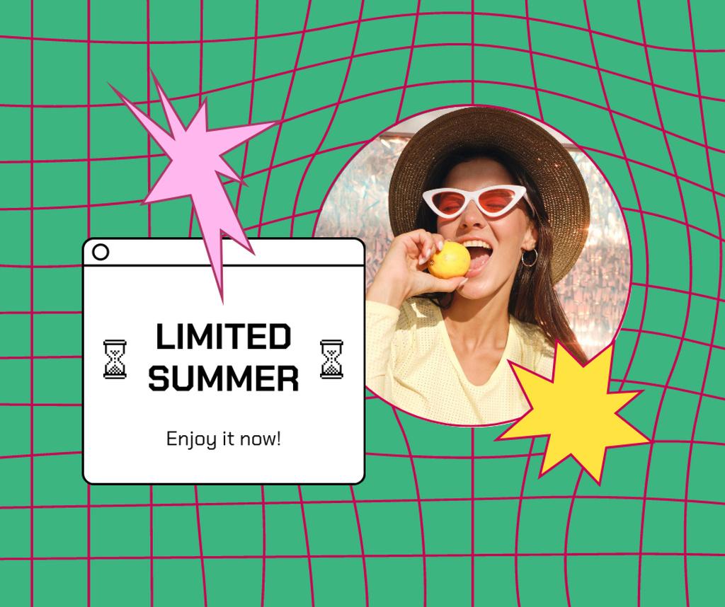 Plantilla de diseño de Summer Inspiration with Cute Girl in Hat and Sunglasses Facebook