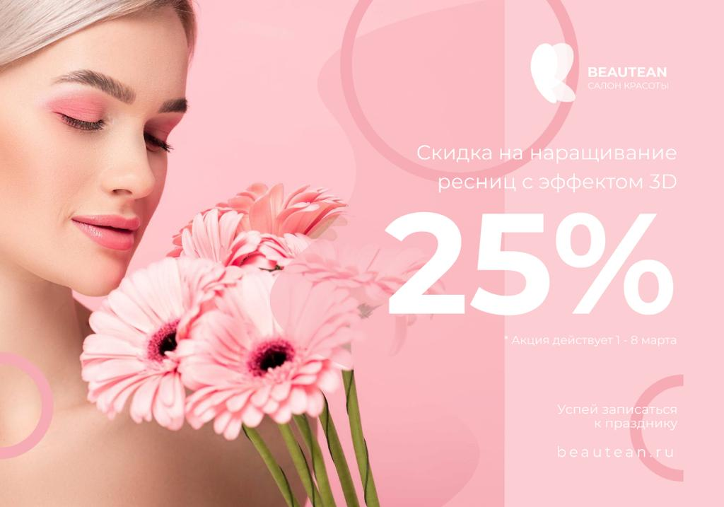 Template di design Woman with pink Flowers on Women's day VK Universal Post