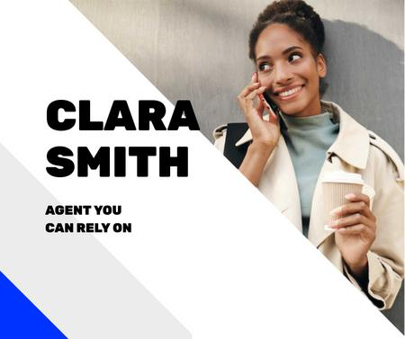Real Estate Agent talking on Phone Facebook Design Template