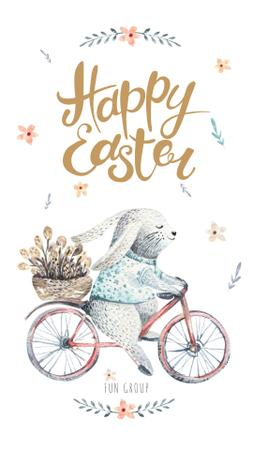 Easter Bunny riding bicycle Instagram Story Tasarım Şablonu